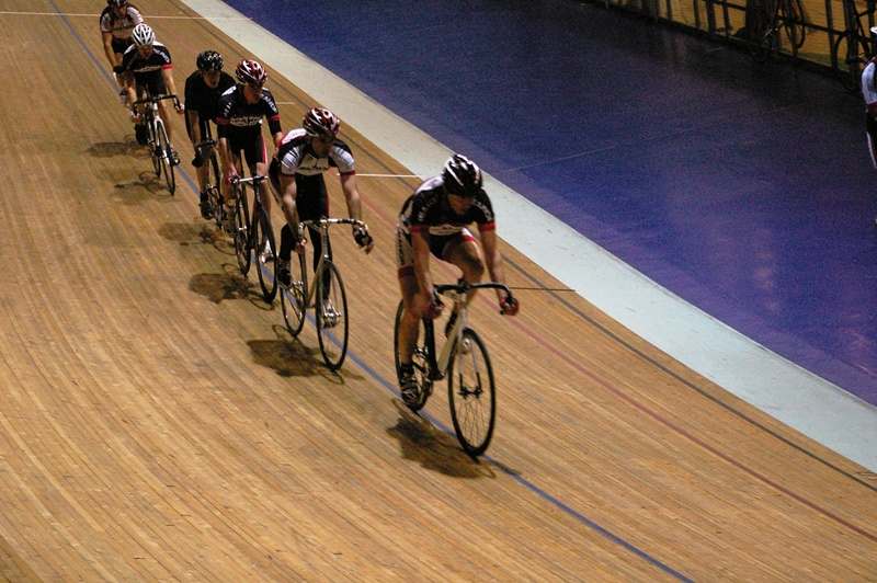 Club riders at Manchester velodrome
